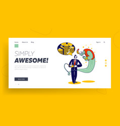 Business man with lamp alladin and gin landing vector