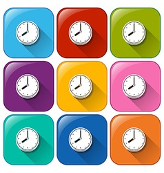 Buttons with clocks vector