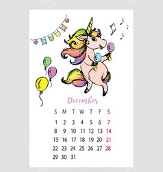 Calendar 2019 with cute unicornhand drawn magic vector