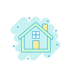Cartoon colored house icon in comic style home vector