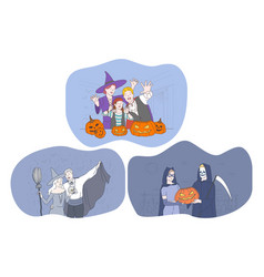 Celebrating halloween holiday in spooky costumes vector