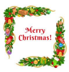 Christmas tree xmas gifts bells garland corners vector