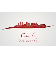 Colombo skyline in red vector