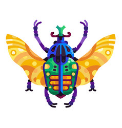 Colorful goliath beetle icon in flat design vector