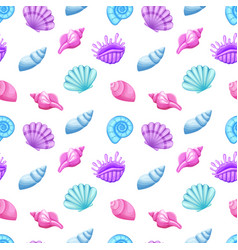 Colorful seamless pattern with seashells vector