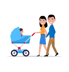 couple parents with a stroller and a child vector image
