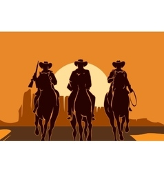 Cowboys riding horses in desert vector