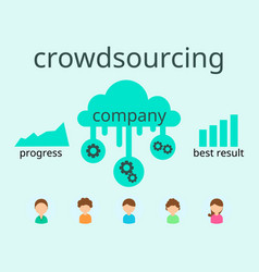 crowdsourcing business flat design flyer vector image
