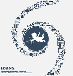 Cupid sign icon in the center Around the many vector image