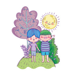 cute little kids with sun kawaii in the landscape vector image