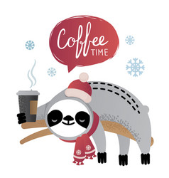 Cute sloth bear animal with a cup of coffee vector