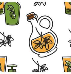 cyprus olive oil seamless pattern salad seasoning vector image