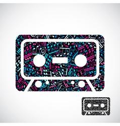 Decorative colorful cassette tape symbol filled vector image