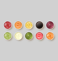 Dip sauces top view bowls with mayonnaise tomato vector