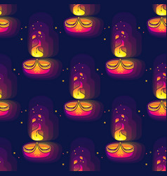 Diwali seamless pattern diwali lamp bright vector