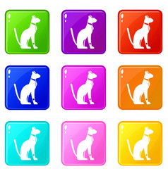 Egyptian cat icons 9 set vector