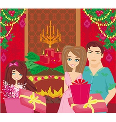 Family Christmas at homehappy girl opens the gift vector