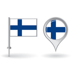 Finnish pin icon and map pointer flag vector image