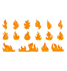 fire flames set icons flat style vector image