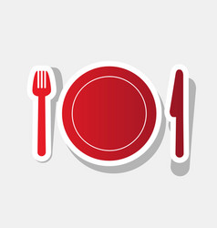 fork plate and knife new year reddish vector image