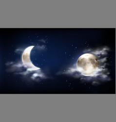 full moon and crescent in night sky with clouds vector image