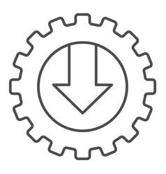 Gear and arrow thin line icon mechanic vector