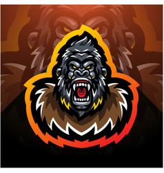Gorilla head esport mascot logo desain vector