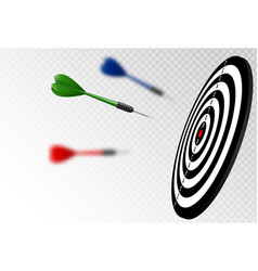 green dart arrows flying to target vector image