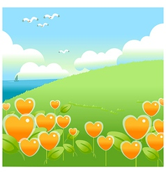 Green landscape with blue sky vector image