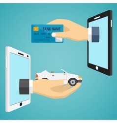 Hands with car and credit card vector image