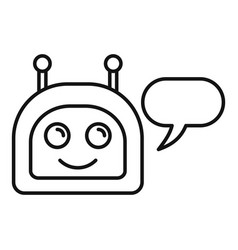 happy chatbot icon outline style vector image