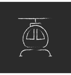 Helicopter icon drawn in chalk vector