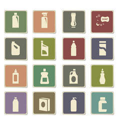 Household chemicals icon set vector