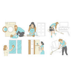 housework cleaning house and laundry vector image