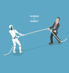 human vs robot flat isometric concept vector image