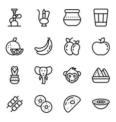 Indian culture and accessories linear icons set vector