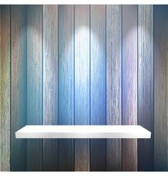 Isolated Empty shelf for exhibit on wood EPS10 vector image