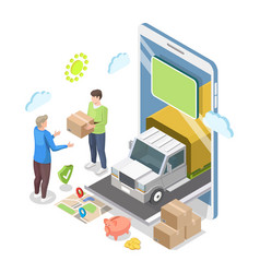 isometric smartphone truck courier giving parcel vector image