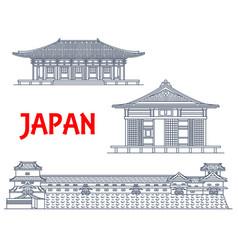 japan landmarks japanese temples architecture vector image