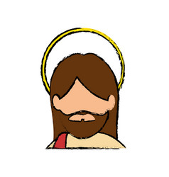 jesuschrist face cartoon vector image