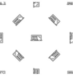 laptop book library pattern seamless vector image