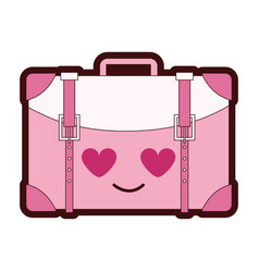 Line color travel backpack in love kawaii cartoon vector