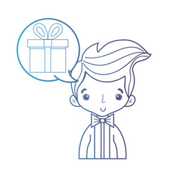 line cute man with hairstyle and chat bubble vector image