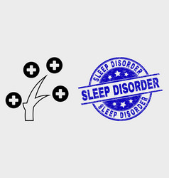 Line medical tree icon and grunge sleep vector