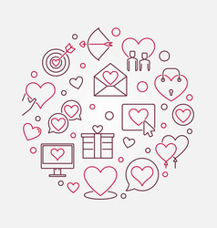 Love and interpersonal relationship round vector
