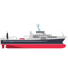 Military warship or cargo ship isolated on white vector