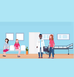 mix race patients with doctor at hospital waiting vector image