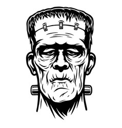Monochrome of frankenstein head vector
