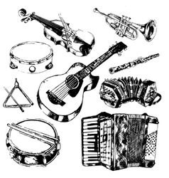 Musical instruments icons set vector
