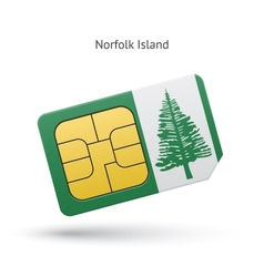 Norfolk Island mobile phone sim card with flag vector